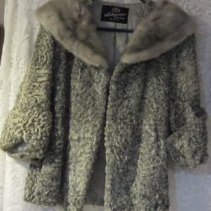 Vintage grey Persian lamb with mink collar jacket
